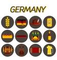 Germany flat icon set vector image