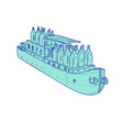 gin bottles on barge boat drawing vector image