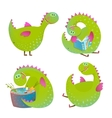 Set of fun cartoon dragons vector image