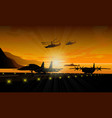 silhouettes of military equipment vector image