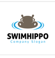 Swim hippo Design vector image