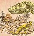 Dinosaurs - An hand drawn Line art vector image