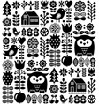 scandinavian seamless folk pattern - black finnish vector image