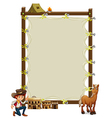 An empty framed banner with a cowboy and a horse vector image vector image