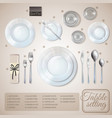 table setting infographics vector image
