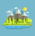 mountain lake forest background vector image