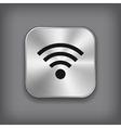Wi-fi icon - metal app button vector image