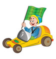 boy in a go kart vector image