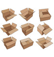 cardboard box for design brown delivery set vector image