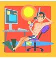 Freelancer works resort computer vector image