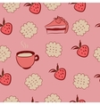 Seamless pattern with cakes strawberries and vector image