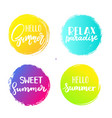 set of colorful summer circles signs badges vector image