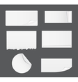 Set of White Paper Stickers Isolated on White vector image
