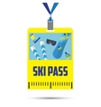 ski pass template with barcodeblue ribbon vector image
