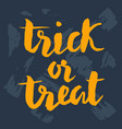 trick or treat halloween card brush lettering vector image