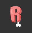 letter r meat font pork and bone alphabet sign vector image