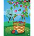 Easter Basket on Lawn3 vector image