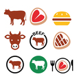 Beef meat cow icon set vector image