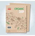 cardboard organic shop template vector image