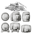 Wooden barrel set and rural landscape with villa vector image