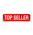 Top seller red 3d square button isolated on white vector image