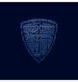 Data security icon Circuit board shield vector image