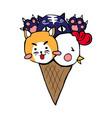 cute cat dog chicken ice cream vector image