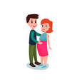 young happy couple cheerful man touching belly of vector image