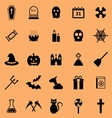 Halloween color icons on orange background vector image vector image