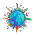 time to travel - flat design travel composition vector image