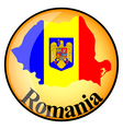 orange button with the image maps of Romania vector image vector image