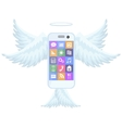 Smart mobile phone flying with wings vector image