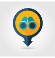 Binoculars pin map flat icon Summer vector image
