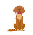 cartoon friendly big brown dog sitting straight vector image