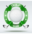 Golf clubs and ball with ribbons vector image