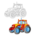 tractor in contour and in color vector image vector image