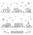 neighborhood with homes and churches vector image