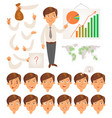 businessman face and body elements vector image