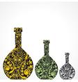 Creative floral wine bottles vector image