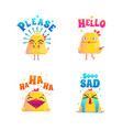 funny chicken doodle set vector image