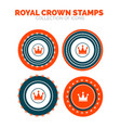 royal crown stamp premium icon set vector image