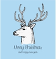 hand drawn reindeer face holiday greeting card vector image vector image