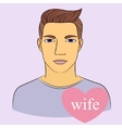 Man with wife in heart vector image vector image