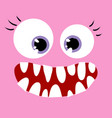 happy pink monster close up vector image vector image