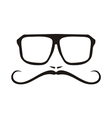 Hipter with glasses and mustache face vector image