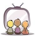 children watching tv vector image