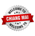 Chiang mai 3d silver badge with red ribbon vector image