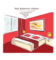 Red bedroom interior hand drawing vector image