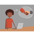 African American black guy near the laptop thinks vector image