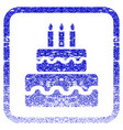birthday cake framed textured icon vector image